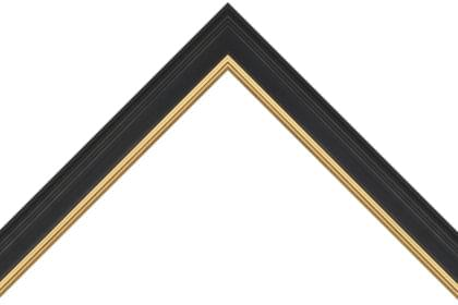 30mm Reverse high back smooth black with split gold line