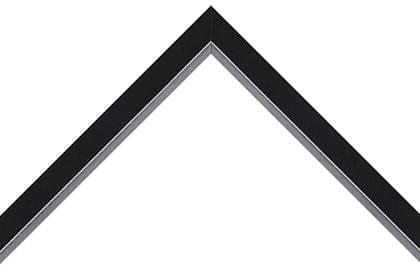 25mm Smooth black with sloped silver hessian detail