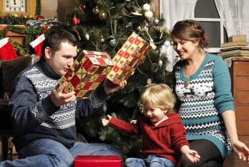 Child opening presents