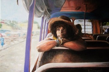 JP on the bus. Oils on canvas. by Andy Zermanski
