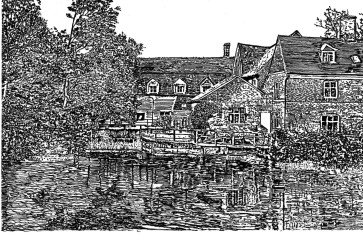 A study of Flatford Mill by Alan Parkin-Coates