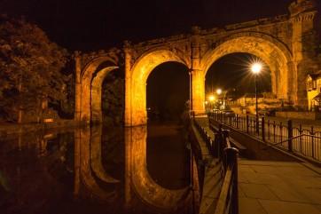 Knaresborough railway viaduct at night, North Yorkshire