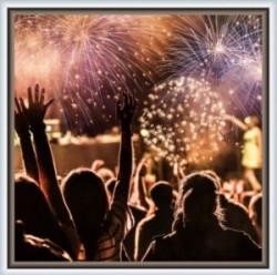 Fireworks in frame