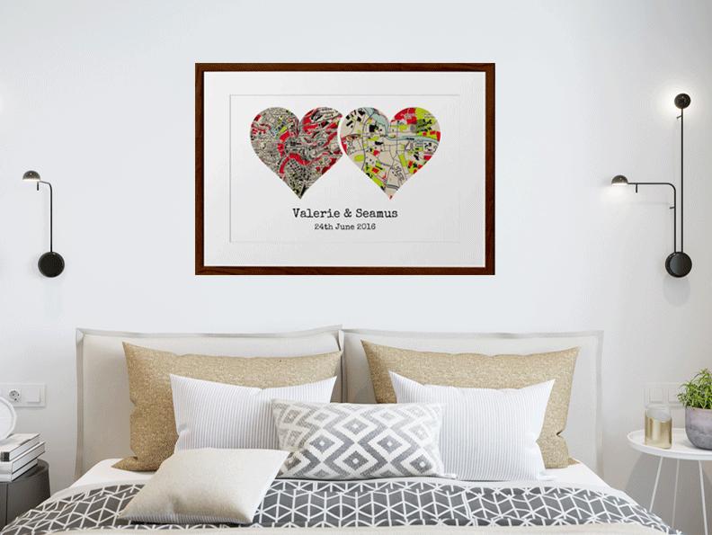 Dual Heart Map Print