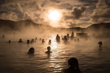 The sun coming down over the Blue Lagoon in Iceland - Francis Longhurst
