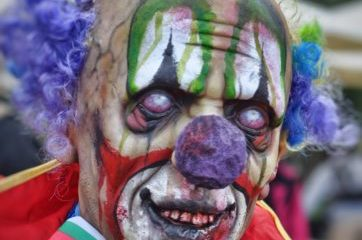 Scary painted clown