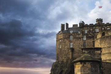 Edinburgh castle with dark skies