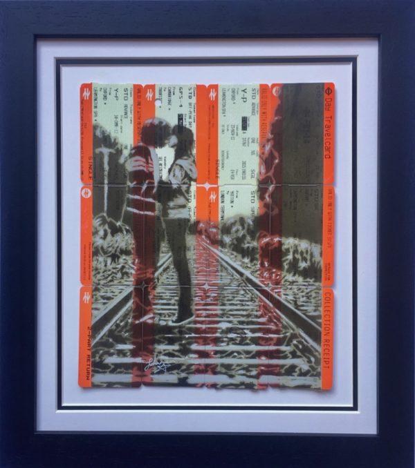 Sprayed train tickets framed