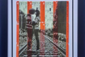 Sprayed train tickets framed