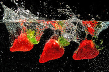 strawberry splash food photography
